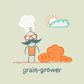 Grain grower stands next to the bread — Stock Vector
