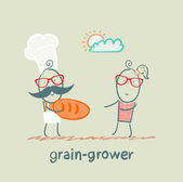 Grain grower gives bread a girl — Stock Vector