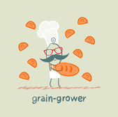 Grain grower keeps the bread and butterflies fly around — Stock Vector
