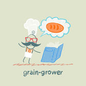 Grain grower reads bread recipe — Stock Vector