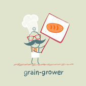Grain grower holds a poster with bread — Stock Vector