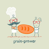 Grain grower keeps the bread with the cook — Stock Vector