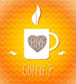 コーヒーが大好きです。ポスター. — ストックベクタ