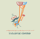 Industrial climber flies on the balloons with a hammer — Stock Vector