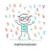Mathematician is the rain of numbers — Stock Vector