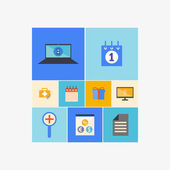 Office and Business Icons Set in Flat Design — Stock Vector