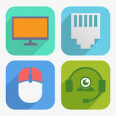 Office and Business Icons Set in Flat Design — Stockvector
