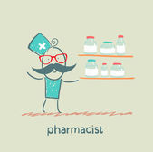 Pharmacist standing next to a shelf on which medicines — Stock Vector