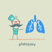Phthisiatry says the human lung — Stock Vector