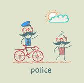 Police riding a bike for a criminal — Stock Vector