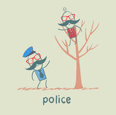 Police near the tree on which sits a criminal — Stock Vector