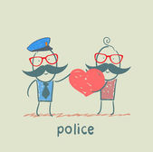 Police listen to a man in love — Stock Vector