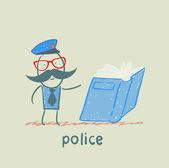 Politie leest het boek — Stockvector