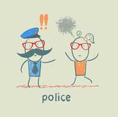 Police listen to the girl who runs — Stock Vector