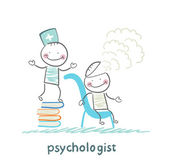 Psychologist is on a stack of books and produces steam from the patient's head — Stock Vector