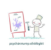 Psychoneuropathologist holds the hammer and says a presentation on the nerve cells — Stock Vector