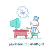 Psychoneuropathologist sits on the workplace at the computer and thinking of nerve cells — Stock Vector