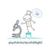 Psychoneuropathologist looking through a microscope and thinks of nerve cells — Stock Vector