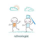 Reflexologista com uma agulha pega paciente — Vetor de Stock