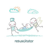 Resuscitator carry on a stretcher patient — Stock Vector