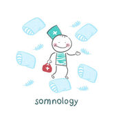 Somnology flies on pillows — Stock Vector