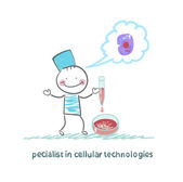 Specialist in cellular technology makes watching experiments in vitro and thinks of cells — Stock Vector