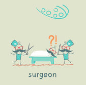 Surgeon holding a scalpel and scissors and stands near the patient, who is lying on the operating table — Stock Vector