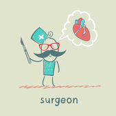 Surgeon holding a scalpel and thinks about the heart — Stock Vector