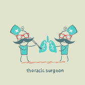 Thoracic surgeon with a scalpel works on light — Stock Vector