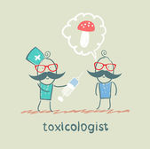 Toxicologist makes the patient an injection, which has poisoned mushrooms — Stock Vector