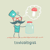 Toxicologist holds a jar of medicine from poison mushrooms — Stock Vector
