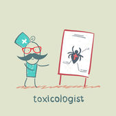 Toxicologist says a presentation on the venom of the spider — Stock Vector