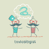 Toxicologist says the snake with the patient — Stock Vector
