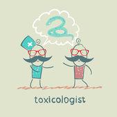 Toksikolog yılan hasta ile söylüyor — Stok Vektör