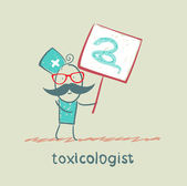 Toxicologist holds a placard on which painted a snake — Stock Vector