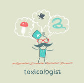Toxicologist thinks of the snake, insects and fungi — Stock Vector