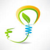 Light bulb with leaf inside. design element icon — Vetorial Stock