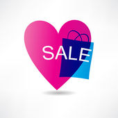 Pink heart and sale icon — Stock Vector