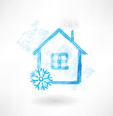 Snow house grunge icon — Stock Vector