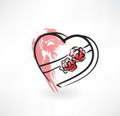 Valentine grunge icon — Stock Vector