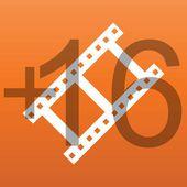 Filn frame 16 plus icon — Stock Vector