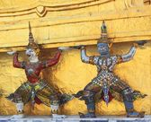Detail of Golden Stupa, monkey and demon — Stock Photo