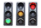 Semáforo rojo verde y rojo aislado — Foto de Stock