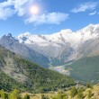 Saas Fee with surroundinmg mountains — Stock Photo