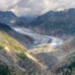 Great Aletsch Glacier valley — Stock Photo