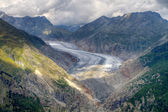 Great Aletsch Glacier valley — Stock Photo