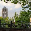 Dom tower and bicycles in Utrecht, Netherlands — Stock Photo