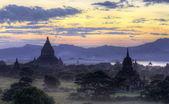 Bagan temples at sunset — Stock Photo