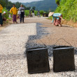 Manual road construction work in Burma — Stock Photo