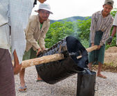 Manual road construction work in Burma — Stock Photo